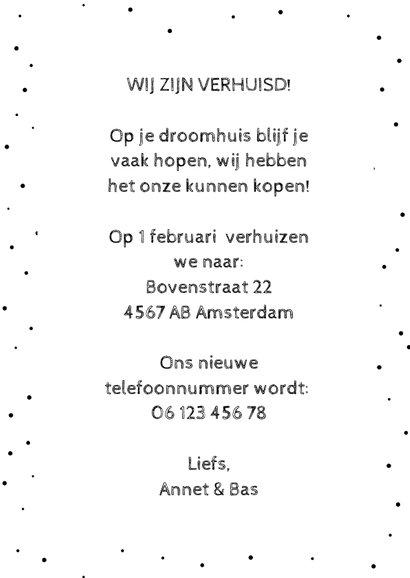 Verhuiskaart met Amsterdamse huisjes en reflectie 3