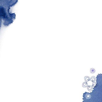Verhuiskaart met een huisje en blauwe kleurvlekken Achterkant