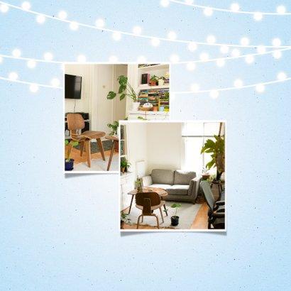 Verhuiskaart met lampjes en wegwijzerbord huisjes 2