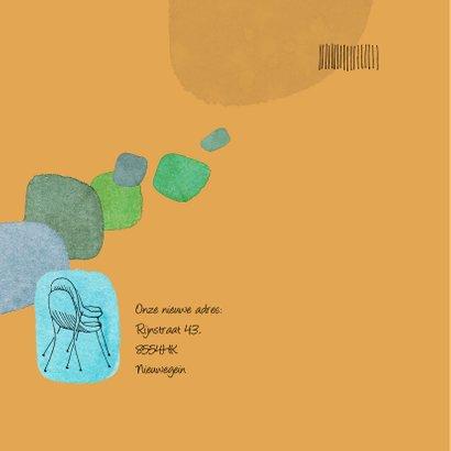Verhuiskaart met plantjes en stoelen 2
