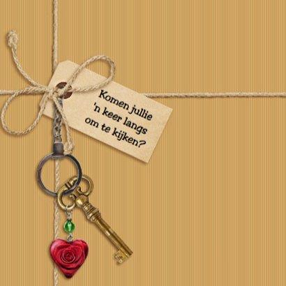 Verhuiskaart met touw, labels, sleutel en eigen foto 3