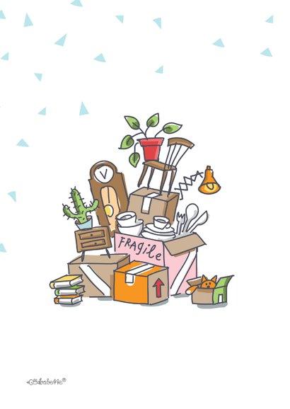 Verhuiskaart met varken en stapel verhuisdozen 2