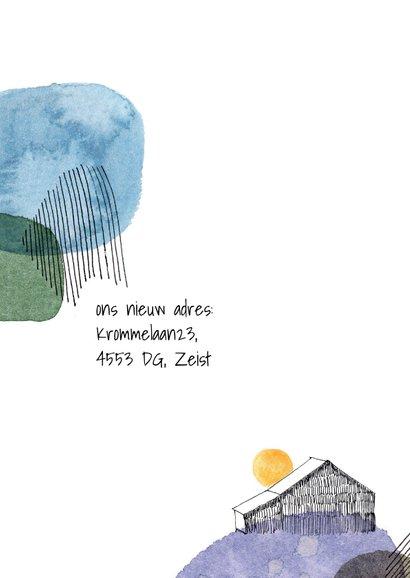 Verhuiskaart met verfvlekken en huis 2