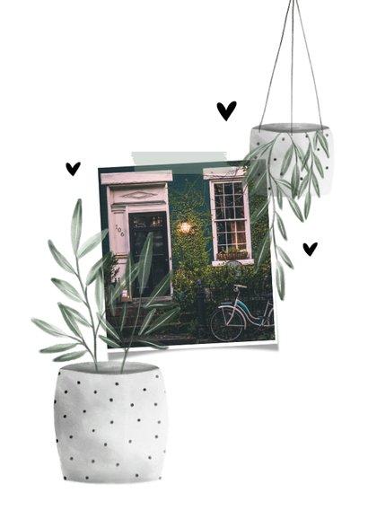 Verhuiskaart new home met planten en hartjes 2