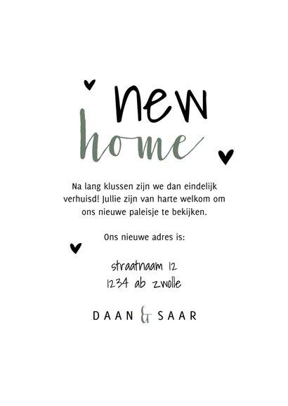 Verhuiskaart new home met planten en hartjes 3