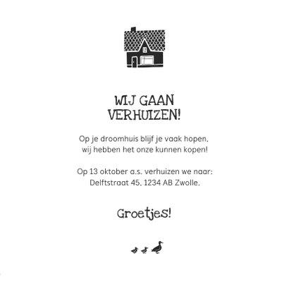 Verhuiskaart nieuwe woning huisjes sleutels eendjes 3