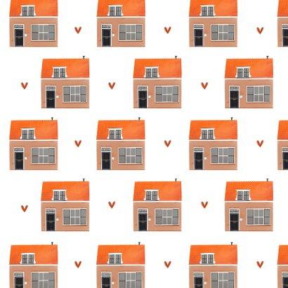 Verhuiskaart nieuwe woning huizen patroon illustratie Achterkant