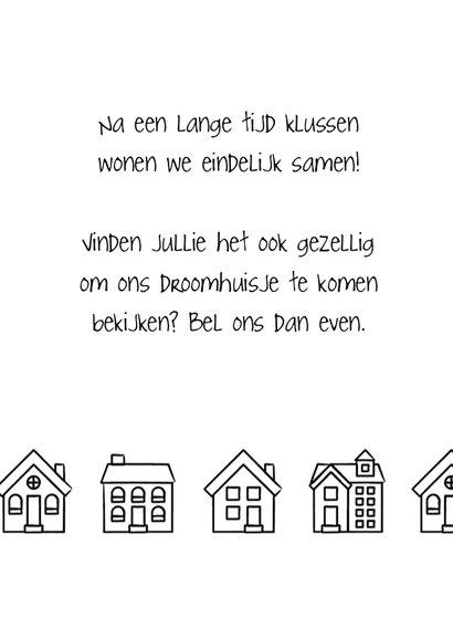Verhuiskaart rechthoekig met getekende zwart-witte huisjes 2