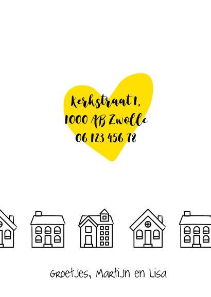 Verhuiskaart rechthoekig met getekende zwart-witte huisjes 3