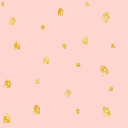 Verhuiskaart roze waterverf en gouden huisjes confetti 2
