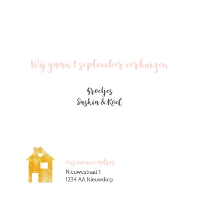 Verhuiskaart roze waterverf en gouden huisjes confetti 3