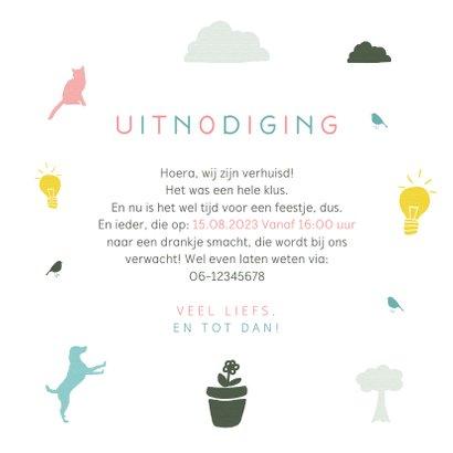 Verhuiskaart samenwonen typografisch en iconen 3