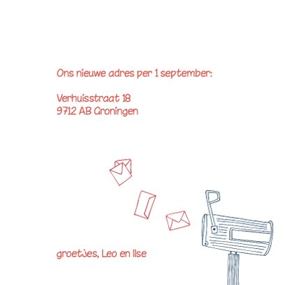 Verhuiskaart tekening brievenbus 3