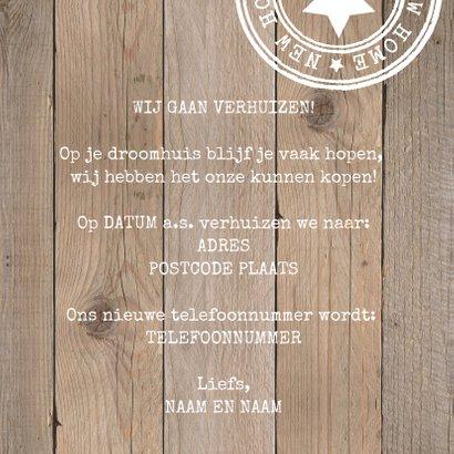 Verhuiskaart typografie houtlook 3
