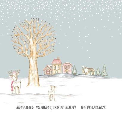 Verhuiskaart winterlandschap met huisjes en hertjes 2
