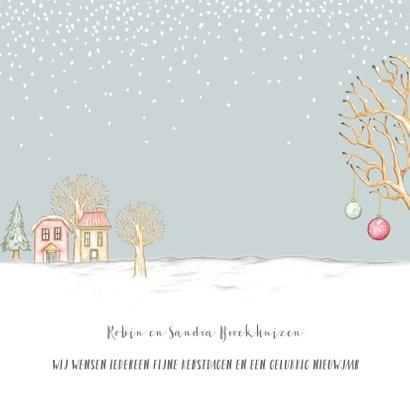 Verhuiskaart winterlandschap met huisjes en hertjes 3