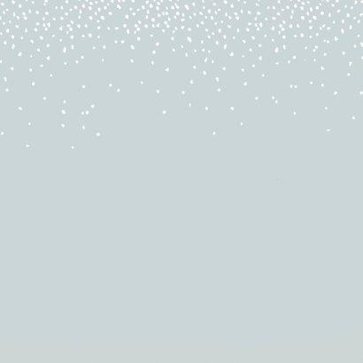 Verhuiskaart winterlandschap met huisjes en hertjes Achterkant