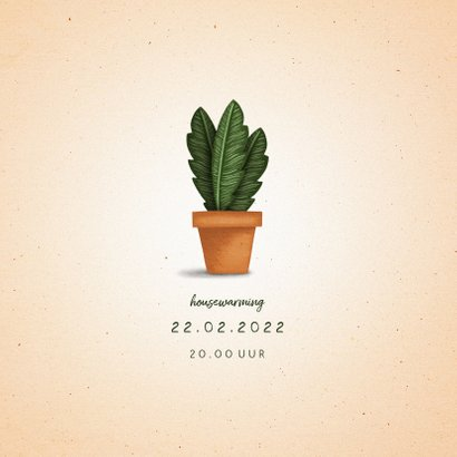 Verhuiskaartje 'nieuwe woning' met plant in pot 2