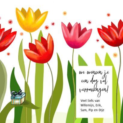Verjaardag - Fantasie tulpen met feestbeestje 3