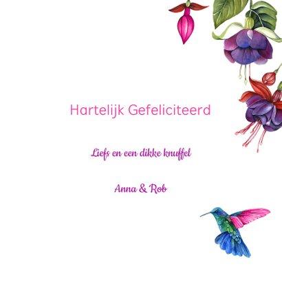 Verjaardag fuchsiabloemen kolibrie 3
