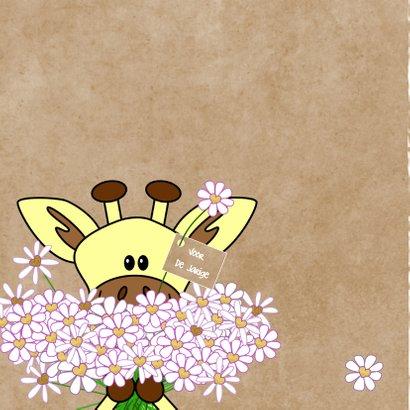 Verjaardag giraffe met bloemen hartjes 2