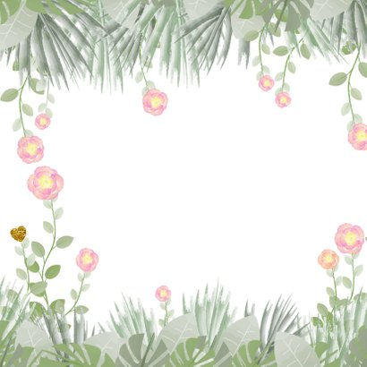 Verjaardag hippe kaart met bloemen en botanica 2