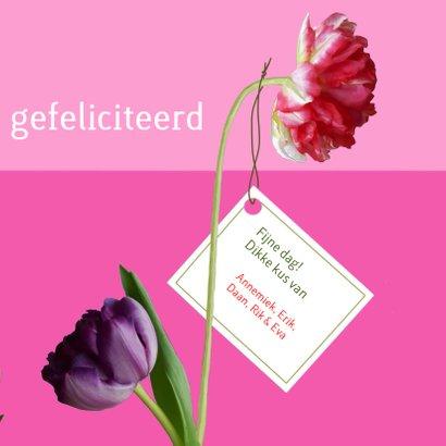 Verjaardag - kat met kleurige tulpen 3