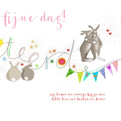 Verjaardag - konijntjes met tierelantijntjes 3