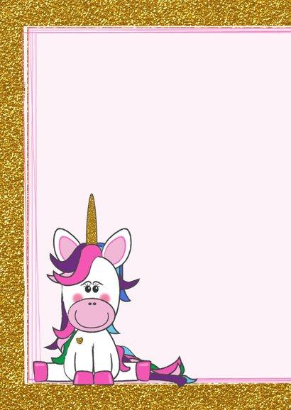 Verjaardag trendy gouden glitter kaart met vrolijke Unicorn  2