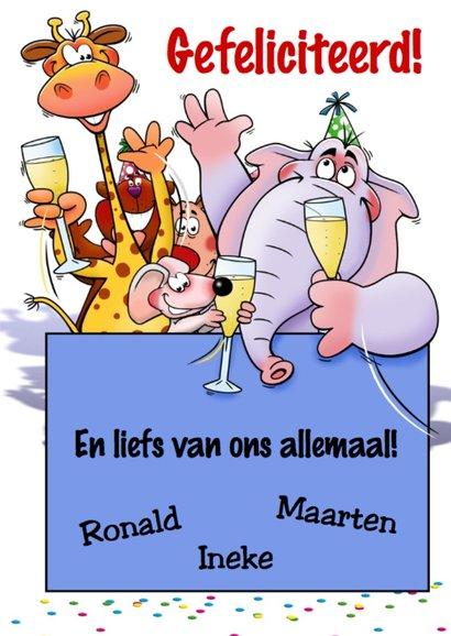 Verjaardagkaart met grappige dieren met glazen champagne 3
