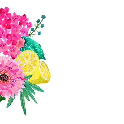 Verjaardagsfeestje botanisch bloemen fel roze 2