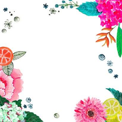 Verjaardagsfeestje botanisch bloemen fel roze Achterkant