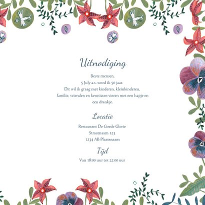 Verjaardagsfeestje uitnodiging bloemen rand 3