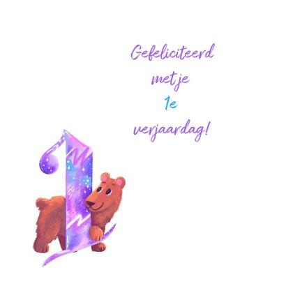 Verjaardagskaart 1 jaar beer 2