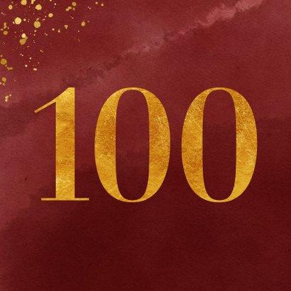 Verjaardagskaart 100 jaar gouden spetters op waterverf 2