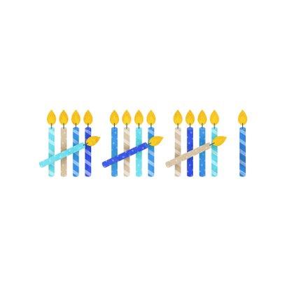 Verjaardagskaart 16 kaarsjes blauw 2