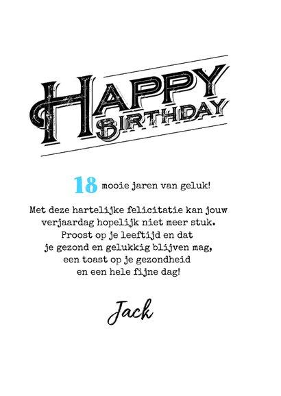 Verjaardagskaart 18 jaar man stoer grunge typografie 3