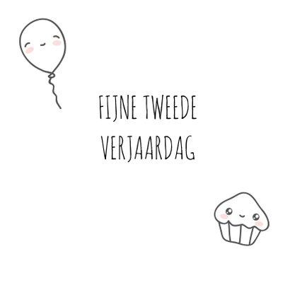 Verjaardagskaart - 2 jaar - cute 3