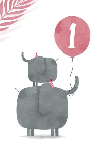 Verjaardagskaart 2 olifantjes met ballon en leeftijd jungle 2