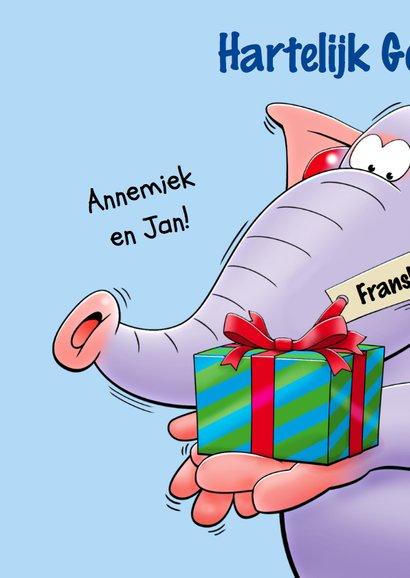 Verjaardagskaart 3 grappige olifanten met een drankje 2