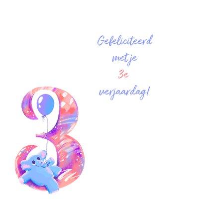 Verjaardagskaart 3 jaar olifant 2