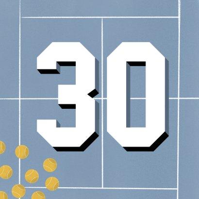 Verjaardagskaart 30 jaar man blauw tennis veld en ballen 2