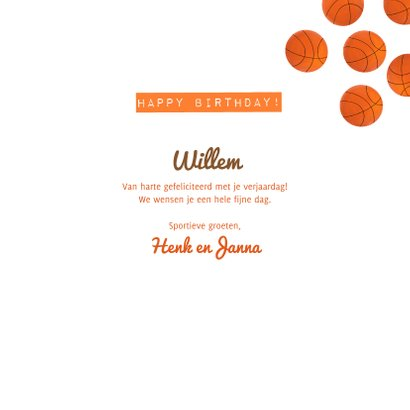 Verjaardagskaart 30 jaar man oranje basketballen en veld 3