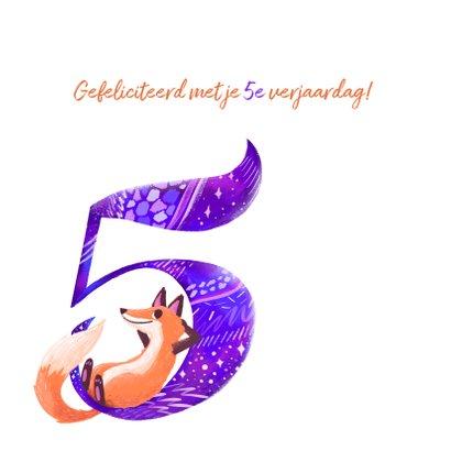 Verjaardagskaart 5 jaar vos 2
