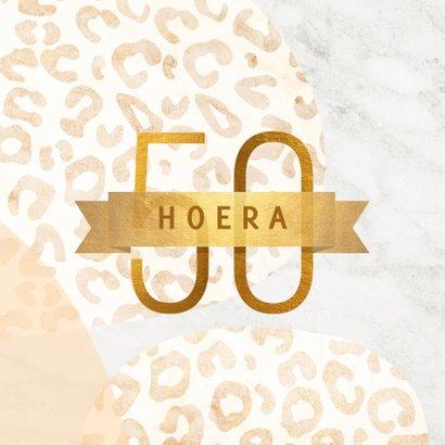 Verjaardagskaart 50 jaar goud met marmer en panter abstract 2