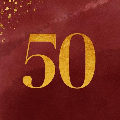Verjaardagskaart 50 jaar gouden spetters op waterverf 2