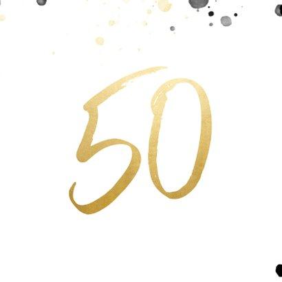 Verjaardagskaart '50' met foto en spetters 2