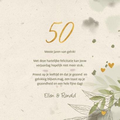 Verjaardagskaart '50' met foto, takjes en hartjes 3