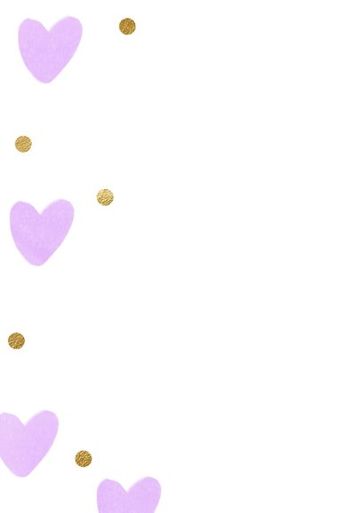 Verjaardagskaart 6 jaar ballon lila hartjes meisje 2