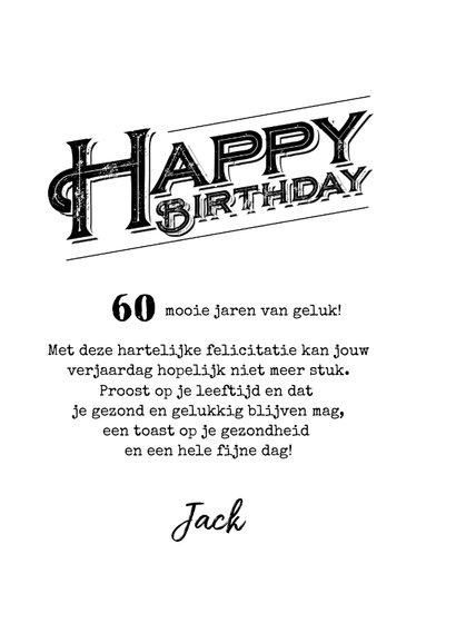 Verwonderend Verjaardagskaart 60 jaar stoer man grunge | Kaartje2go EY-12